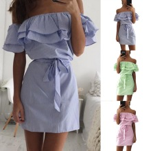 445a1908cdf Sexy Off Shoulder Dress Women beach Strapless Striped print Ruffles tunic Sundresses  Summer Casual Mini Party