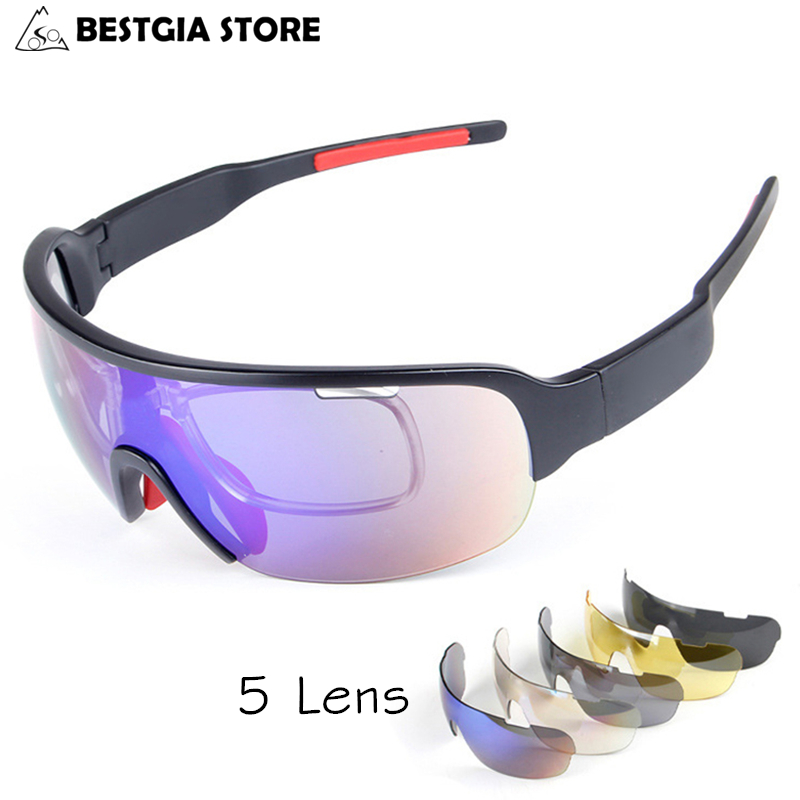 Hot <font><b>5</b></font> <font><b>Lens</b></font> Polarized Cycling <font><b>Glasses</b></font> With Myopia Frame Racing Bicycle Sunglasses TR90 UV400 Cycling Eyewear <font><b>Bike</b></font> Fishing Goggles image
