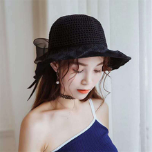 Women Fashion hats Concise Casual Hollow Out Bowtie Decor Beach Travel Sunscreen Bucket Hat