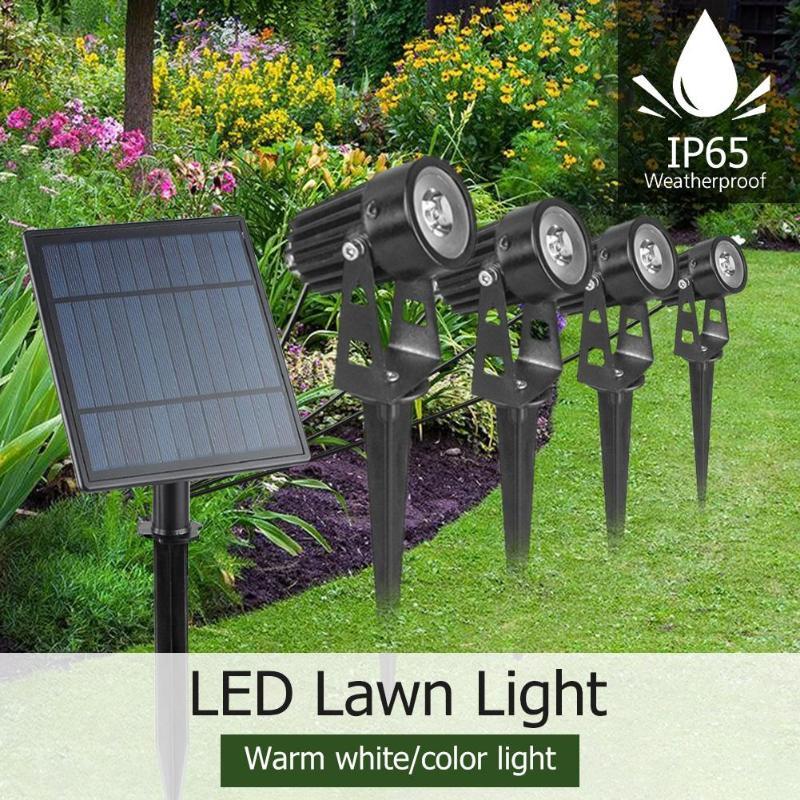 4W Solar Spike Spot Lights Outdoor Garden Lawn Led 4 Pc Spotlights+1pc Solar Panel IP65 Waterproof Lamps Garden Yard