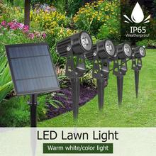 4W Solar Spike Spot Lights Outdoor Garden Lawn Led 4 pc Spotlights+1pc Panel IP65 Waterproof Lamps Yard