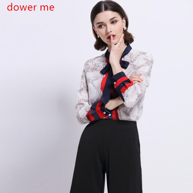 Dower Me High Quality 100% Silk Top 2017 Spring New Arrival Long Sleeve Womens Print Shirt Camisa Mujer Plus Size 2XL