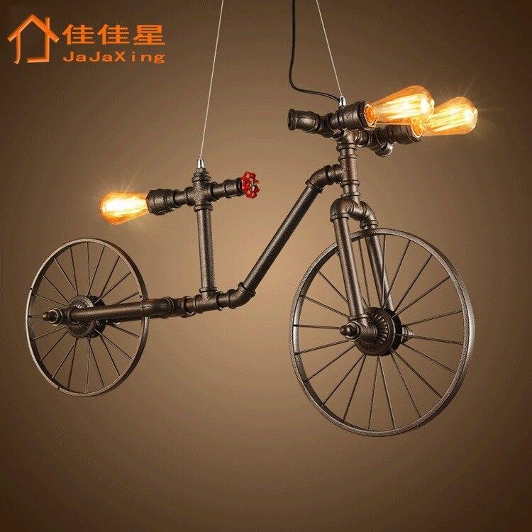 Personalidade estilo Retro industrial tubo bicicleta lustre cafe bar bar loja de roupas decoração