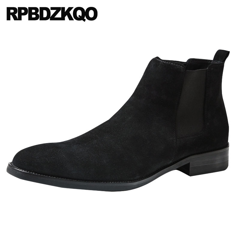 Ankle Flat Shoes Suede 2018 Faux Fur Pointed Toe Fall Mens Winter Boots Warm Lined Black Fashion Chelsea Designer Short Booties faux fur lined flat ankle boots