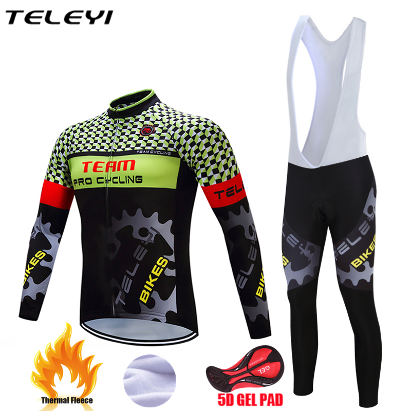 Teleyi 2018 Cycling Jersey Winter Long Sleeve Bike Clothes Thermal Fleece Roupa De Ciclismo Invierno Hombre MTB Bicycle Clothing men thermal long sleeve cycling sets cycling jackets outdoor warm sport bicycle bike jersey clothes ropa ciclismo 4 size