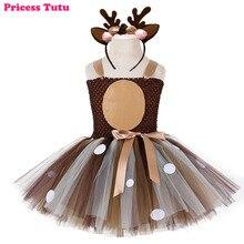 Платье-пачка с рождественским оленем для маленьких девочек, платье для первого дня рождения, детский осенне-зимний костюм для Дня благодарения