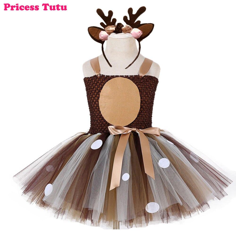 Navidad Purim ciervo Tutu vestido bebé niñas 1st vestido de fiesta de cumpleaños de los niños el día de Acción de Gracias de otoño e invierno traje de conjunto para los niños