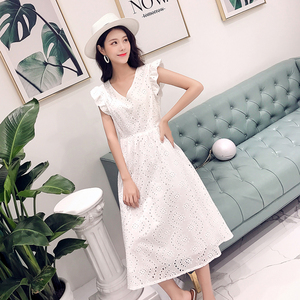 Image 2 - YiLin Kay 2020 High end custom  Heavy industry hollow out water soluble lace dress V NeckEmbroidered white party dresses