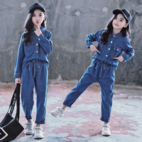Teens Boy Girls Overall Suit Casual Blue Thin Denim Pocket Tops Jeans 2pc 4 To 14 Year Children Tracksuit Outfits Clothing Sets
