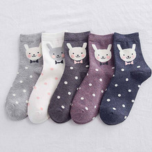 5 pairs of cotton funny socks women casual cartoon striped breathable happy variety rabbit warm female sock