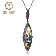 Gems Ba Lê Tự Nhiên Rhodolite Garnet Ngọc Mỹ Trang Sức Nữ Bạc 925 Handmade Cá Vàng Mặt Dây Chuyền Vòng Đeo Cổ Cho Nữ