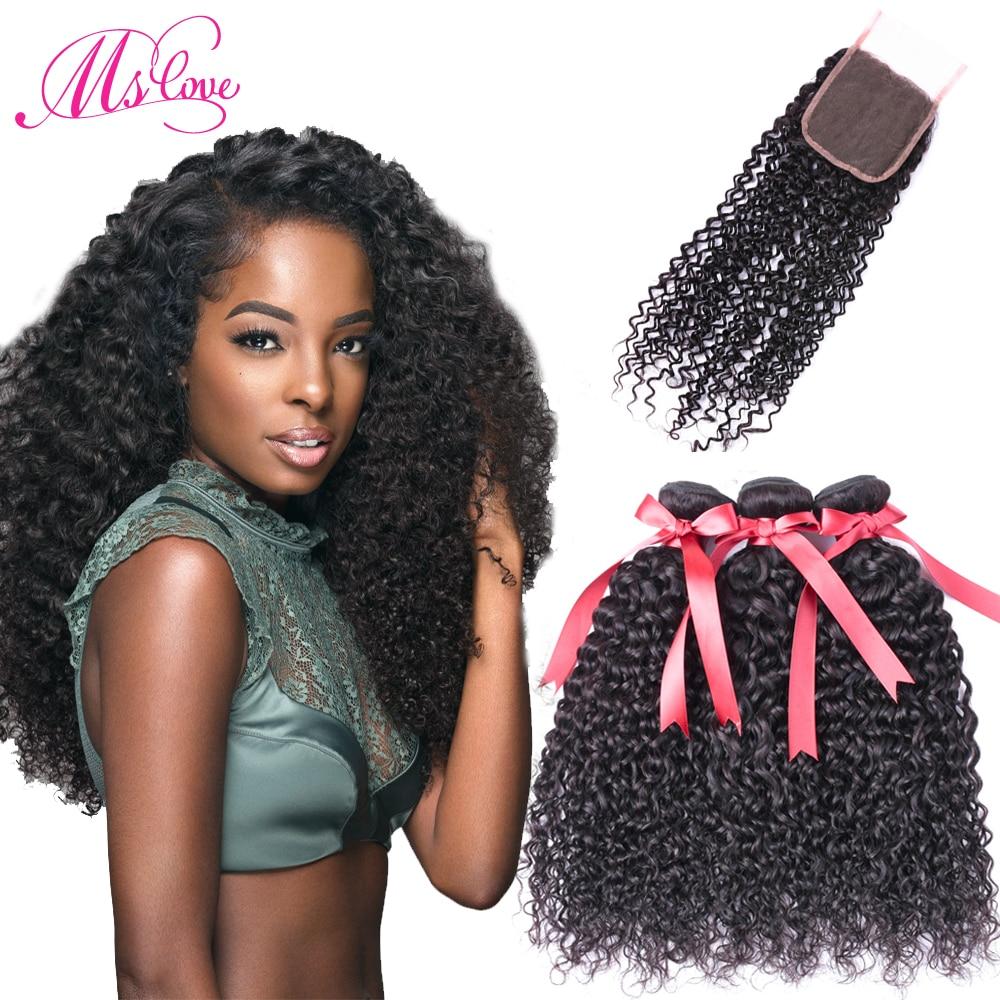 Ms Love Kinky Curly Bundles With Closure Mongolian Kinky Curly Hair - Skönhet och hälsa