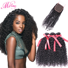 Ms Love Kinky Curly Bundles With Closure Mongolian Kinky Curly Hair 100 Gram Varje Bundle With Snap Closure 4 * 4 Medium Brown Lace