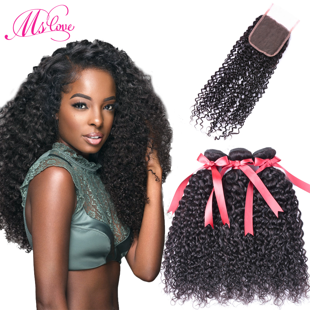 Ms Love Kinky Curly Bundles With Closure Mongolian Kinky Curly Hair 100 Gram Each Bundle With Lace Closure 4*4 Medium Brown Lace