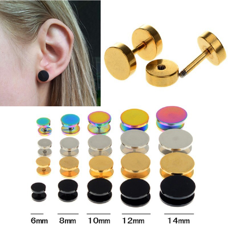 2pcs 10mm Mens Womens Black Round Stud Earrings with Clown Mask Steel Cheater Fake Ear Plugs Gauges