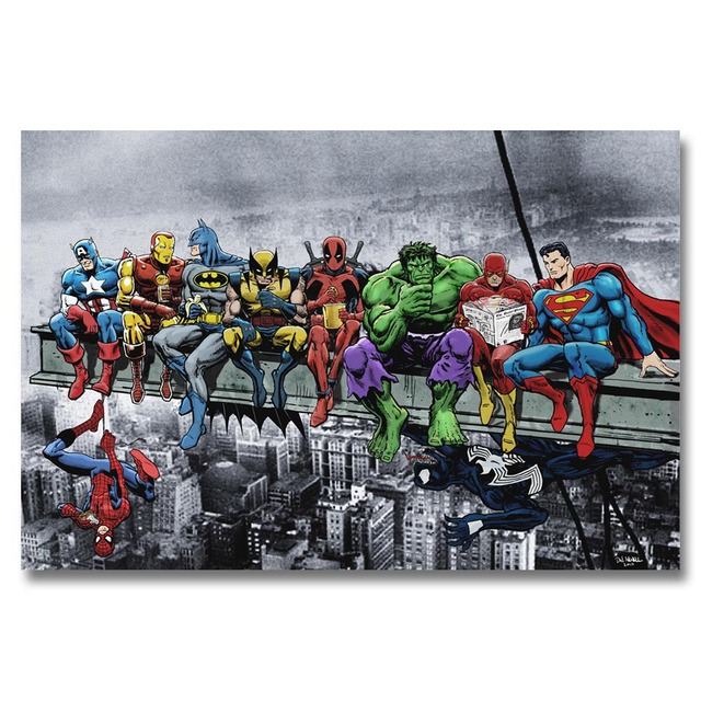 J0324 Superheros Marvel DC Comics SKYSCRAPER Pop Hot New Top Art Print Poster Silk Light Canvas Painting Wall Picture Home Decor
