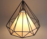 Conical Pendant lights Diamond shape E27 Base Black Color Iron material White shade bar foyer Parlor Study foyer lighting