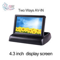 Hd 4 3 Inch Car Monitor Fold Back Image Digital Screen AV Switch Two Road Rotatable