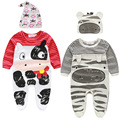 Baby Boy Girl Cartoon Rompers Long Sleeve Jumpsuit Newborn Romper And Hat 2pcs Outfit Toddle Kids Clothes Onesies Baby Set