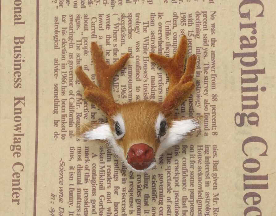 True fur mini deer head Christmas gift porch Feng shui products Window display Forest props