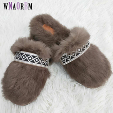 2019 fur slippers women fashion flat summer home ladies shoes