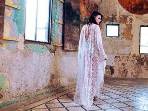 Image 2 - Fitshinling dos nu grobe wrap maillots de bain transparent sexy dentelle chaude longue robe plage boho chauve souris manches cape pareos femmes vente