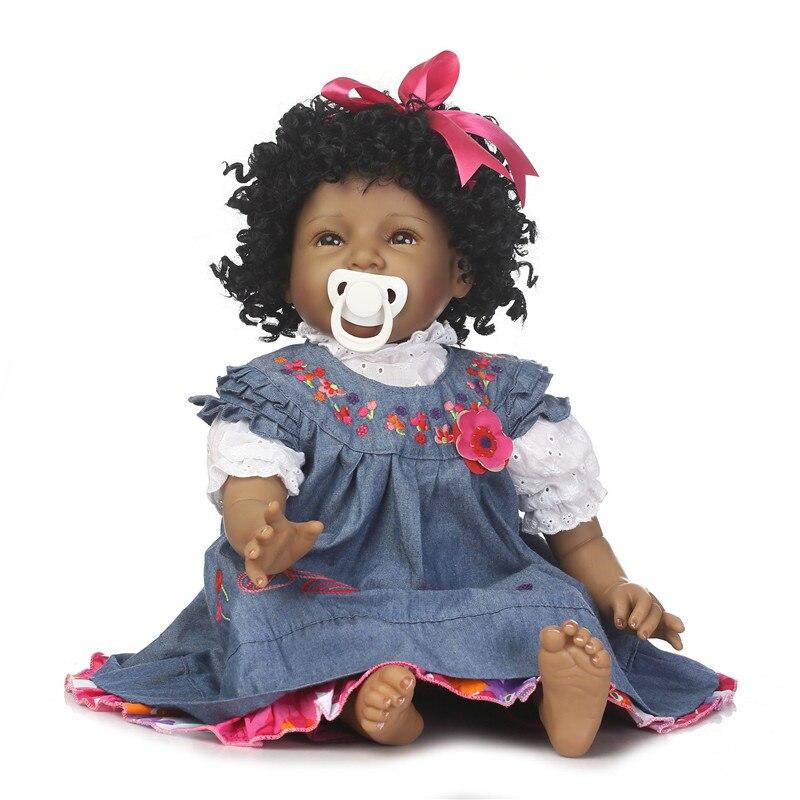 NPK 55cm Black Princess Dolls Soft Silicone Full Body Reborn Baby Doll Newborn Babies Alive Bebe