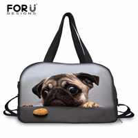 FORUDESIGNS 45x29x21cm Women Travel Duffle Bag Pug Dog Designer Female Carry on Luggage Bag Dinosaur Print Large Travel Handbag