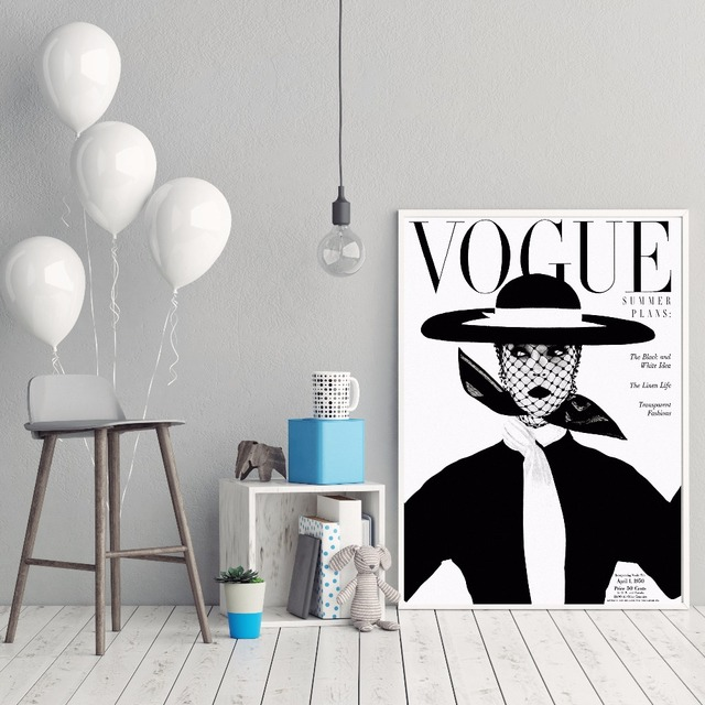 Nordic Poster Modern Fashion Canvas Art Wall Portrait Home Decor Retro 1950s VOGUE Magazine Cover Prints Cuadros No Frame