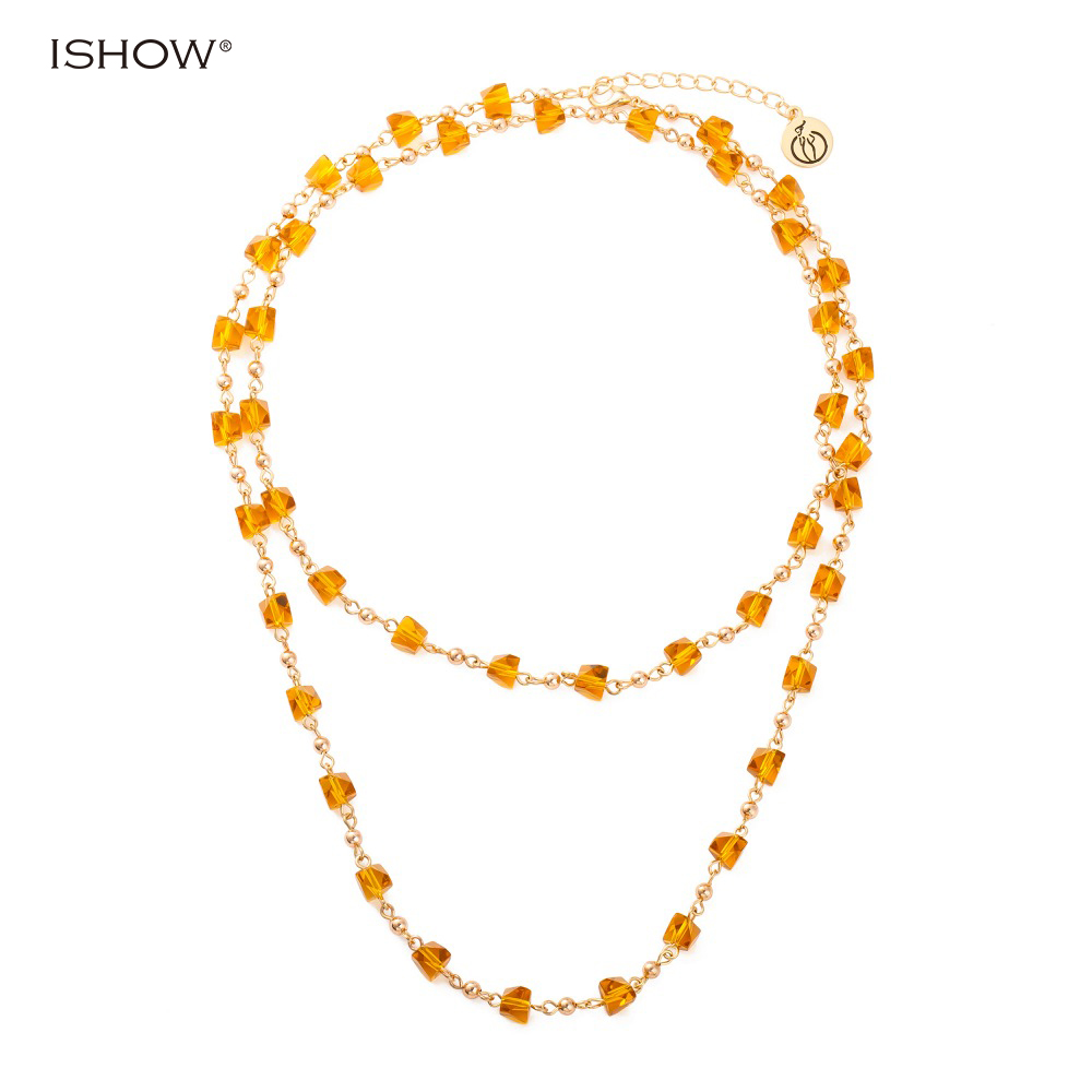 New Fashion Jewelry Stone Necklace For Women Simple Plain Glass Beads Chokers Collier Sautoir Long Chain Jewelry Necklaces