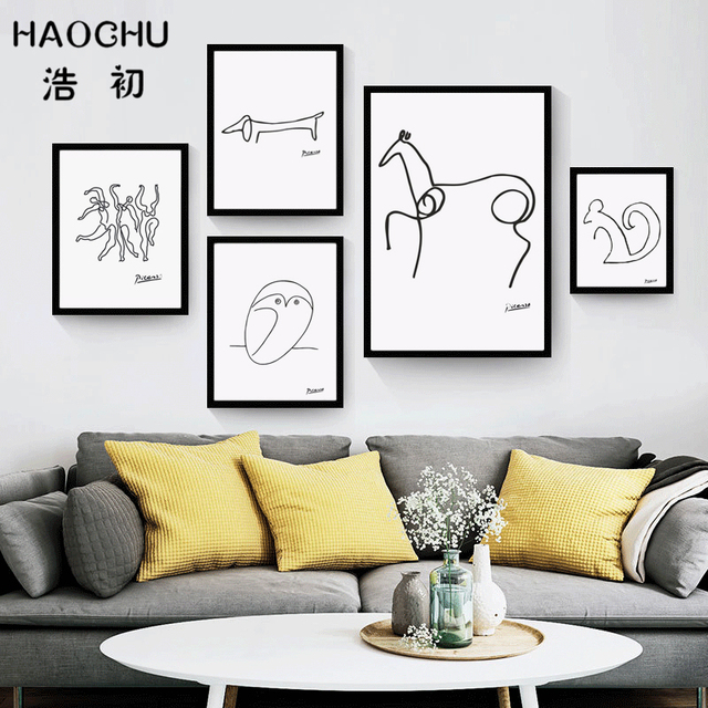 HAOCHU Minimalist Abstract Line Pablo Picasso Canvas Painting Wall ...