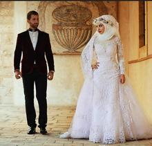 Arabic Elegant Long Sleeves Lace Muslim Overskirt Wedding Dresses Arabic Islamic Hijab Wedding Dress High Neck Bridal Gowns With