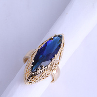 Hot Sell Big Blue Sapphire Ring For Women 18K Yellow Gold Plated Jewelry Size 5 6