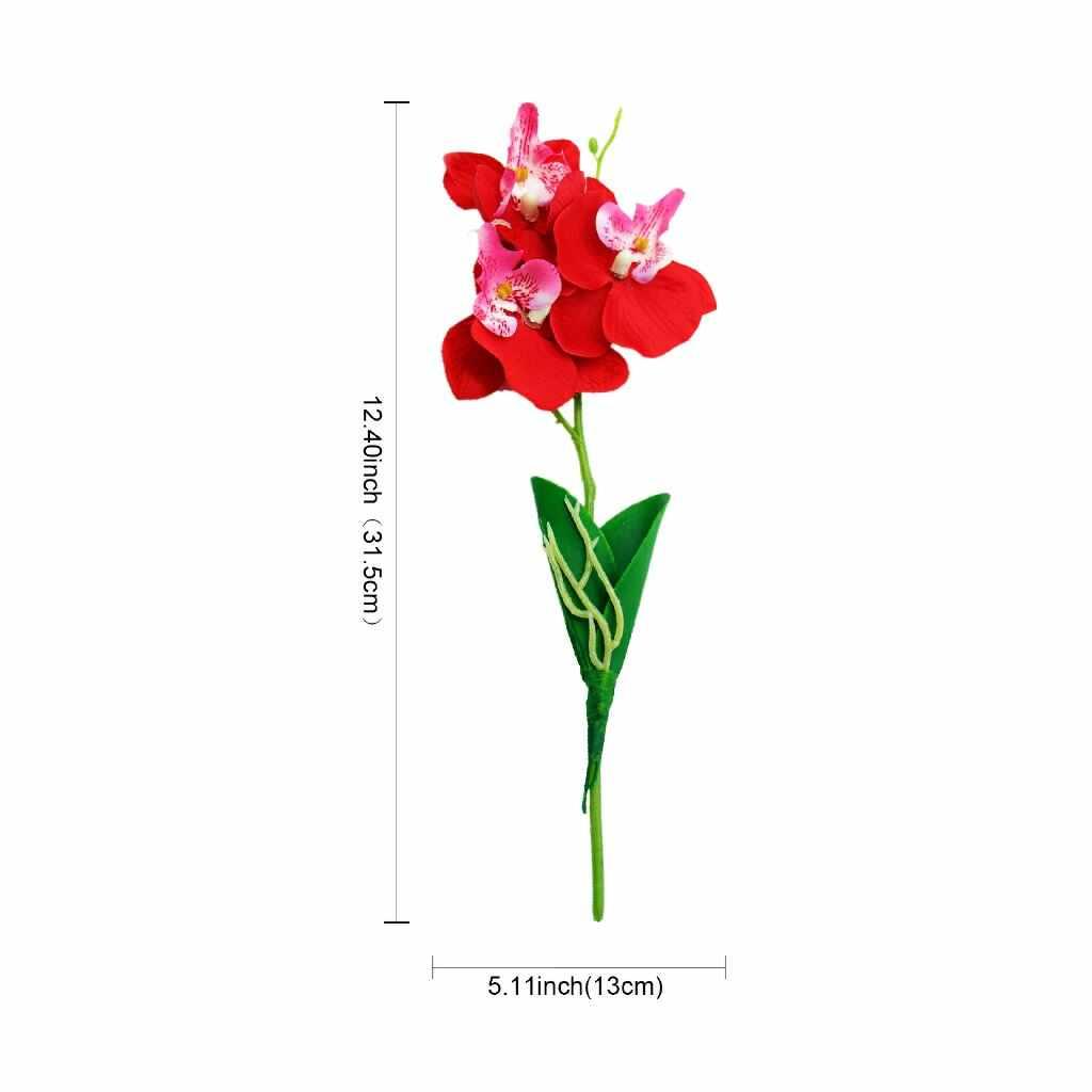 1 Pcs Buatan Butterfly Orchid Sutra Buket Phalaenopsis Buket Bunga untuk Diy Pernikahan Natal Pesta Dekorasi Rumah
