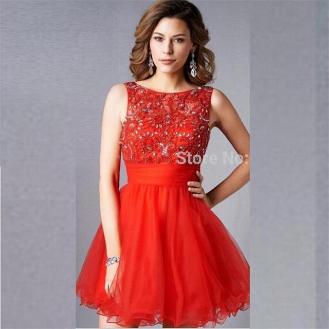23a24ed51 Sexy Backless Rojo Cortos Vestidos de Fiesta Para La Escuela Secundaria 2016  de Verano Con Cuentas