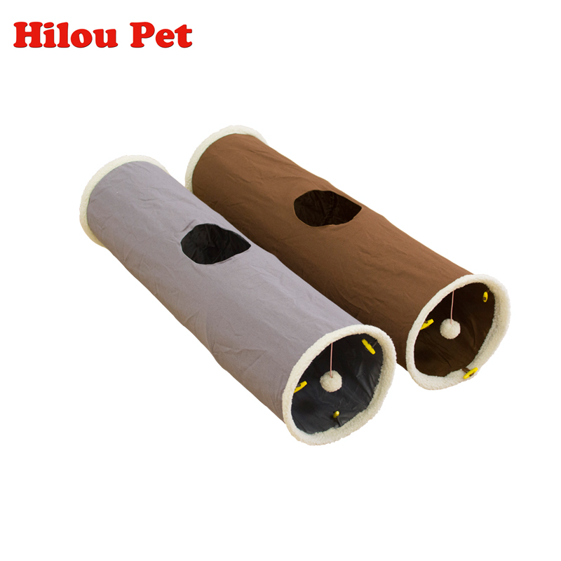 Pet Cat Tunnel 90cm Long Tunnel Toy Fun Toys for Cats Rabbit Kitten Play Tunnel Canvas Toys Pet Supplies 2 Color