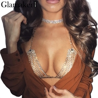 Glamaker Halter Handmade Shiny Rhinestones Body Chain Sexy Summer Beach Chic Women Bra Accessories Club Gold