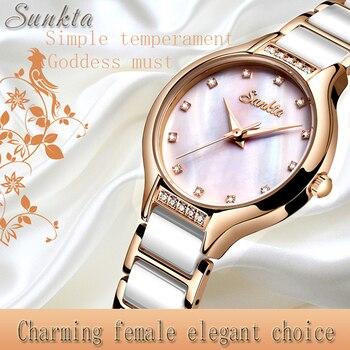 Женские керамические часы SUNKTA, модные, водонепроницаемые, розовое золото