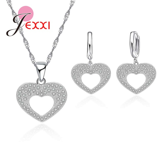 Jexxi Factory Price 925 Sterling Sliver Jewelry Sets Heart Shape Rhinestone Necklace& Hollow Heart Shape Earring For Women Gift by Jexxi