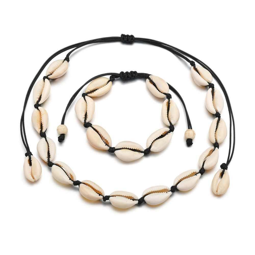 Bohême Shell ensembles de bijoux pour les femmes à la main corde chaîne 2PC Bracelet collier jwellery ensemble Boho été accessoires de plage