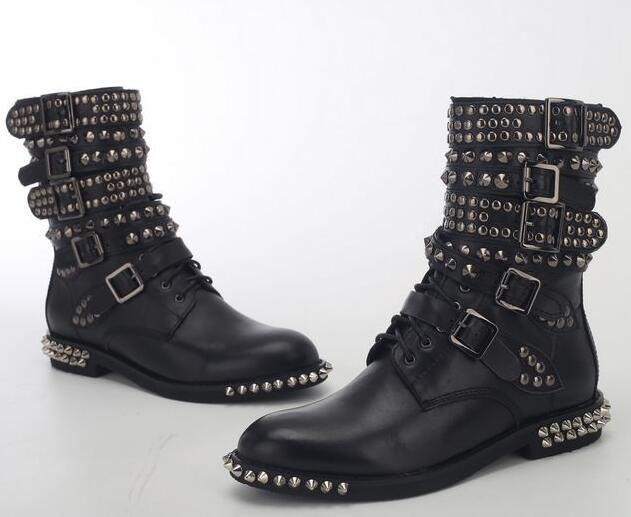 Spring Hot Black Smooth Leather Women Fashion Motorcycle Boots Pointed Toe Stud Buckles Ladies Martin Boots Knight Style Boots hot sales black frosted style motorcycle