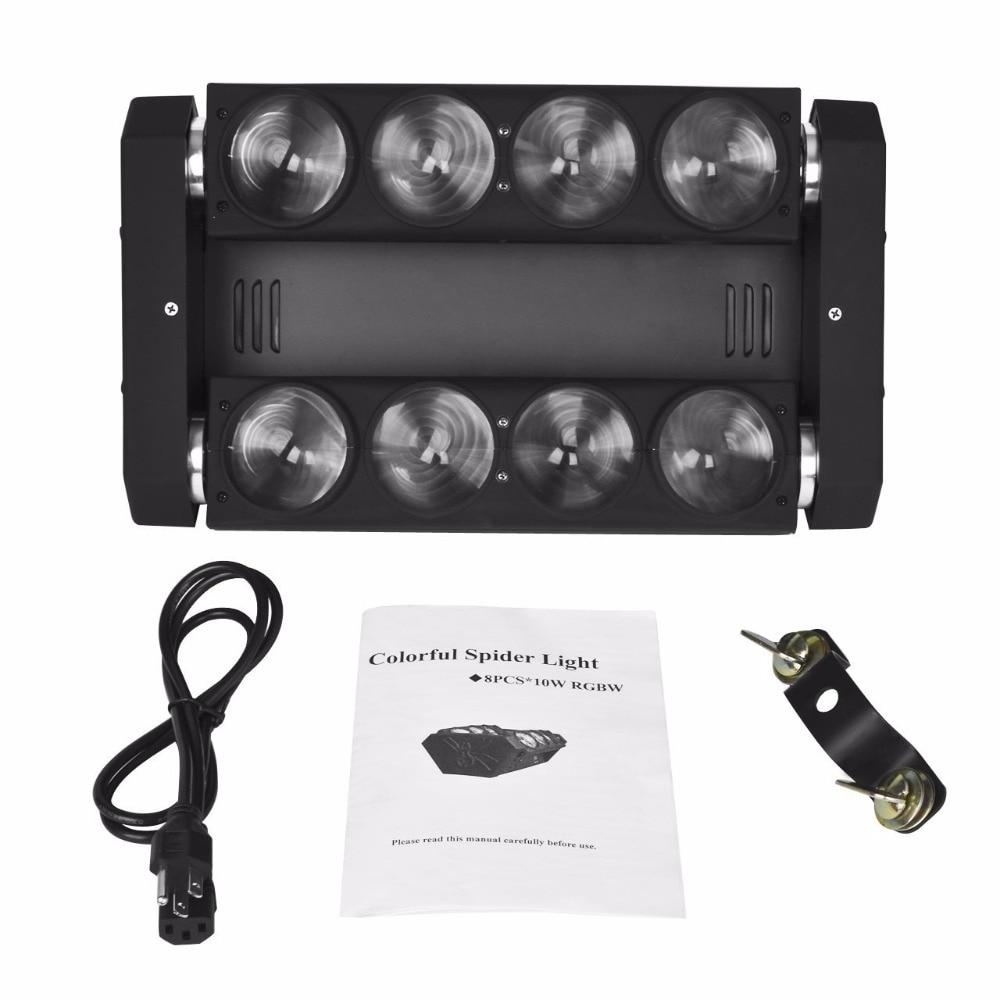3 հատ հատ 8x10w LED LED Spider շարժվող ղեկավար լույս RGBW DMX 512 բեմական դիսկո լուսավորություն