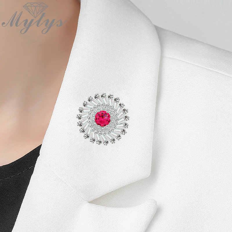 Mytys Merah Jantung Pengaturan Penuh Kubik Zirkon Sepanjang Bros Jarum Grosir Perhiasan Kerah Pins Rhinestones Bunga Pins untuk DIY X334