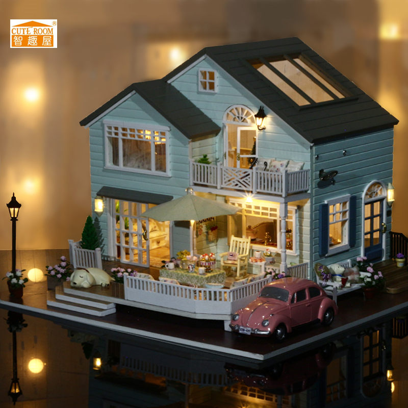 CuteRoom Handmake A-035-A Queens Town DIY Dollhouse Room Miniature Model With Light Music Collection Gift cuteroom diy model dollhouse miniature voice activated led light box theatre gift for birthday valen