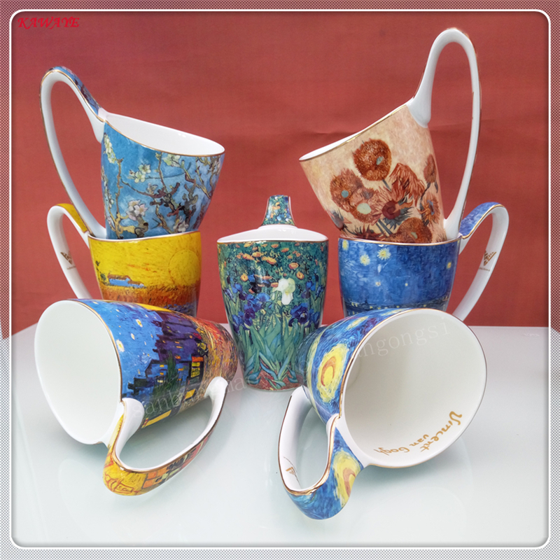 1pcs High Bone China Cup Creative Large Capacity Retro Couple Gift Mugs Coffee Mug Ceramic Tea