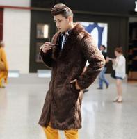 Осенне-зимние утепленные тепловой норки кожаные куртки для мужчин повседневная одежда мужские тренчи верхняя одежда мода черный белый кор...