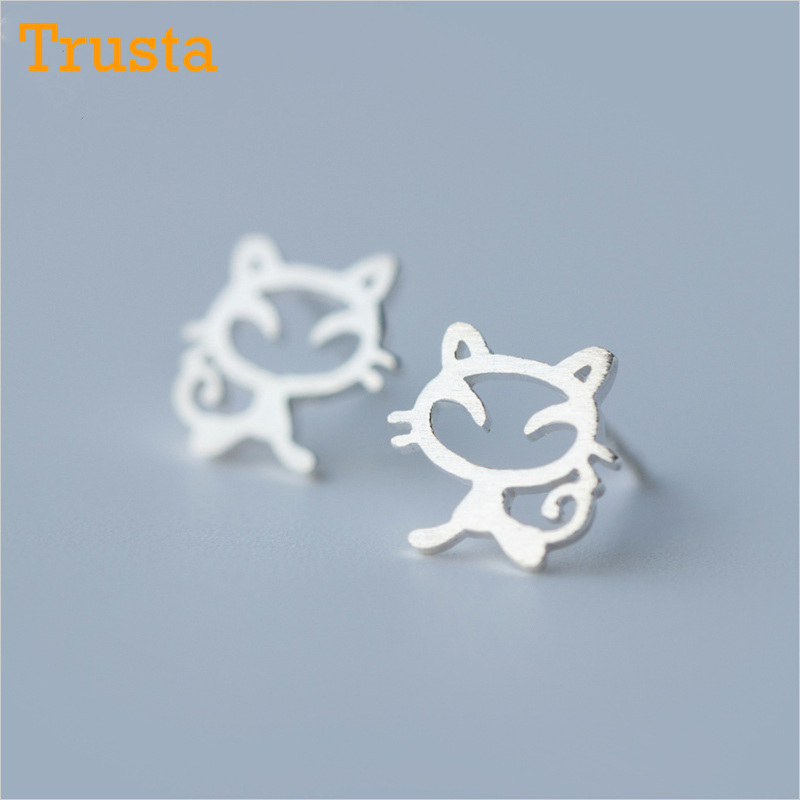 3df151a6b Trusta 100% 925 Sterling Silver Women Jewelry Fashion Tiny 9mmX9mm Hollow  Out Symmetry Cat Stud