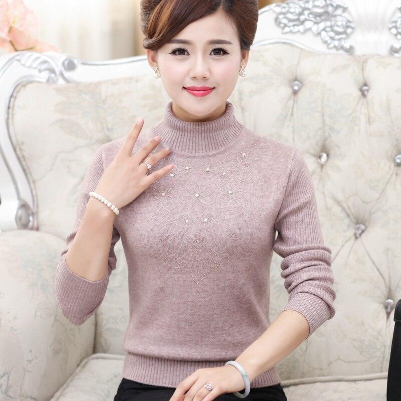 Printemps et hiver vêtements épais pull ensembles de paragraphe court dans les personnes âgées à manches longues tricoté chemise chemise bas chemise