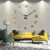 2016 new real home decorations quartz modern wall clock clocks watch horloge 3d diy acrylic mirror stickers free shipping wood