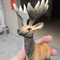 יד מגולפת עץ גילוף תכשיטי קישוטי ריהוט בית בעלי החיים צביים (A270)